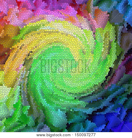 Abstract coloring background of the pastels gradient with visual lighting, mosaic,stained glass ,wave and twirl effects.Good for your project design
