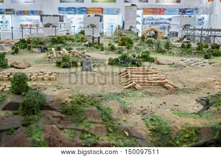 MOSCOW, RUSSIA - APR 02, 2016: Miniature of reconstructed battlefield area in recreational zone Arena of Aviapark shopping center. Aviapark total area of 390 000 sq.m., shopping area - 230 000 sq.m.
