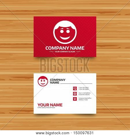 Business card template. Smile face sign icon. Happy smiley with hairstyle chat symbol. Phone, globe and pointer icons. Visiting card design. Vector