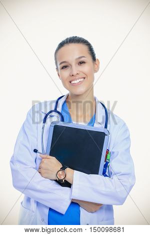 Beautiful young female with tablet computer