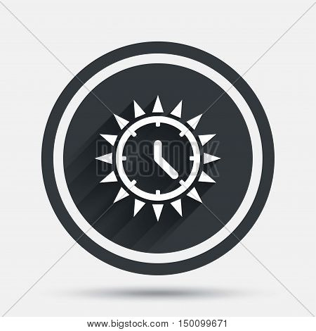 Summer time icon. Sunny day sign. Daylight saving time symbol. Circle flat button with shadow and border. Vector