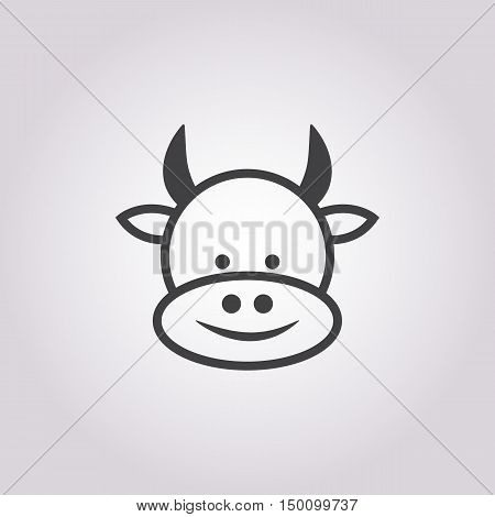cow  icon on white background for web