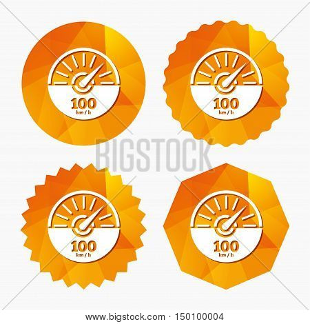 Tachometer sign icon. 100 km per hour revolution-counter symbol. Car speedometer performance. Triangular low poly buttons with flat icon. Vector