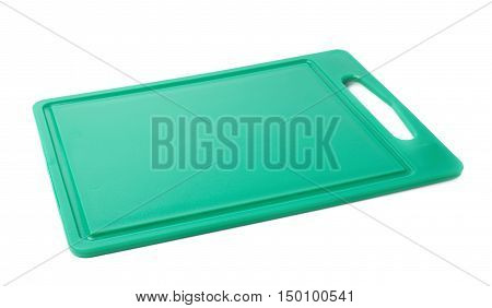 Unused brand new plastic green cutting board isolated over the white background