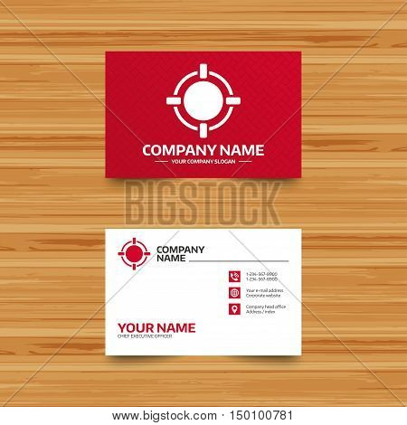 Business card template. Crosshair sign icon. Target aim symbol. Phone, globe and pointer icons. Visiting card design. Vector