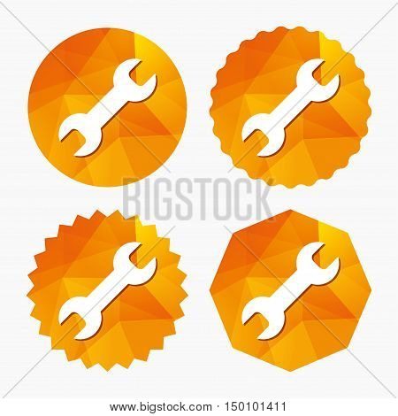 Repair tool sign icon. Service symbol. Triangular low poly buttons with flat icon. Vector