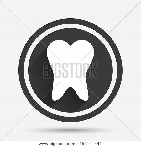 Tooth sign icon. Dental care symbol. Circle flat button with shadow and border. Vector