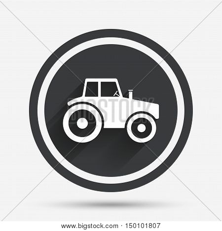 Tractor sign icon. Agricultural industry symbol. Circle flat button with shadow and border. Vector