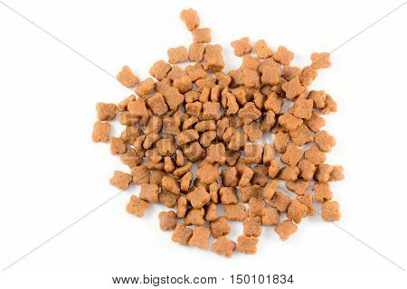 Cat food  on white background in the big room