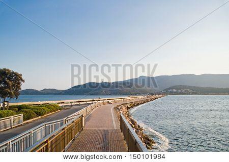 Road on the Orbetello lagoon Tuscany in Italy