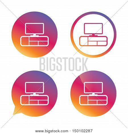TV table sign icon. Modern furniture symbol. Gradient buttons with flat icon. Speech bubble sign. Vector