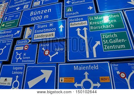 LUZERN, SWITZERLAND - 10 August 2016: Road Signs with Directions Collection shot in Sunlight