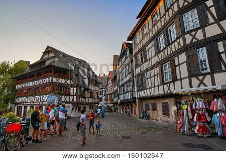 STRASBOURG, FRANCE - 15 August 2016: Traditional Half-timbered houses in Strasbourg Petite France district
