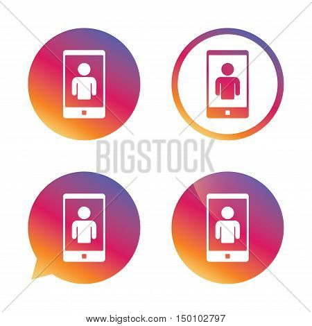Video call sign icon. Smartphone symbol. Gradient buttons with flat icon. Speech bubble sign. Vector