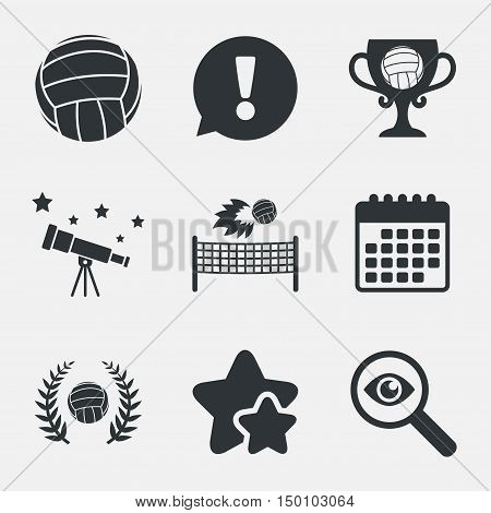 Volleyball and net icons. Winner award cup and laurel wreath symbols. Beach sport symbol. Attention, investigate and stars icons. Telescope and calendar signs. Vector