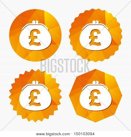 Wallet pound sign icon. Cash bag symbol. Triangular low poly buttons with flat icon. Vector