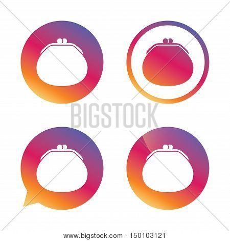 Wallet sign icon. Cash bag symbol. Gradient buttons with flat icon. Speech bubble sign. Vector