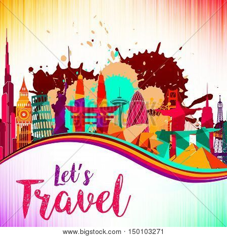 Vector illustration of Travel and tourism on skyline background splash paint violet and yellow, red, beautiful colorful architecture