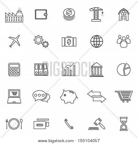 Economy line icons on white background, stock vector