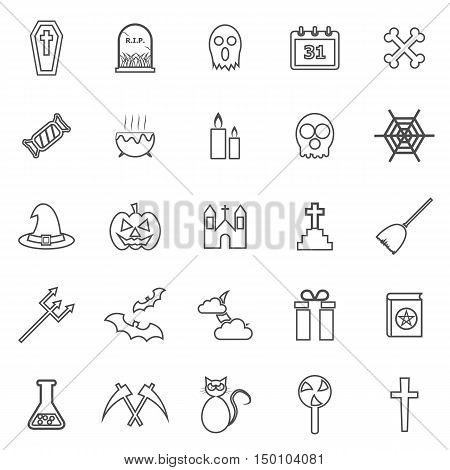 Halloween line icons on white background, stock vector