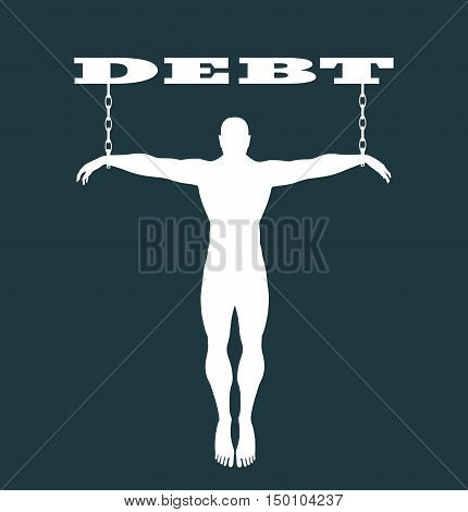 Man chained to alcohol word. Dependency metaphor. Vector illustration.