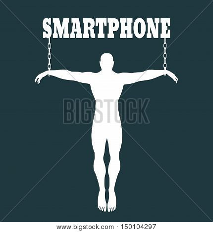 Man chained to smartphone word. Unhealth addicition metaphor. Vector illustration.