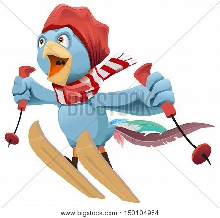 Blue Rooster symbol 2017 flies skiing. Isolated on white vector cartoon illustration