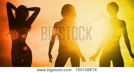Ladies Going Clubbing in a Nightclub and Partying 3d Render