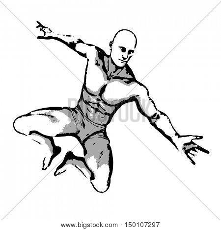 Comic Book Hero Pose in Sketch Ink Illustration 3d Render