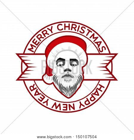 Vector Monochrome Ribbon Engrave Logo Daring Hipster Santa Claus Fashion Label Silhouette Wishes Merry Christmas Happy