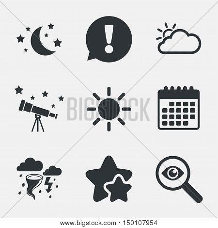 Weather icons. Moon and stars night. Cloud and sun signs. Storm or thunderstorm with lightning symbol. Attention, investigate and stars icons. Telescope and calendar signs. Vector