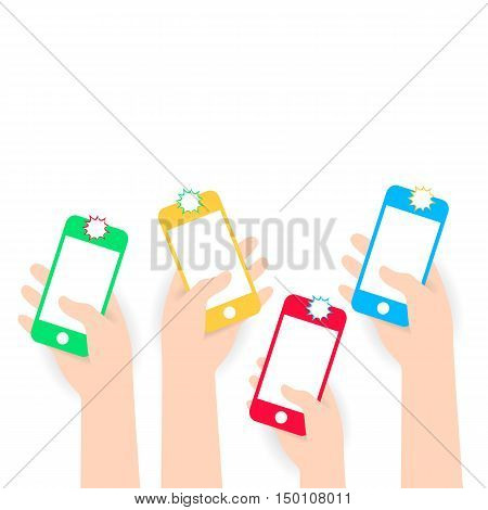 White flat Hands holding phone makes selfie. Vector icon for web or app. Infographics. Wireless technologies for people. Trending gadget flat style with shadow material white background
