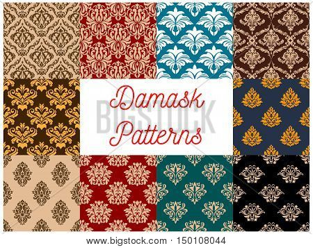 Arabic seamless floral patterns set with damask ornaments of decorative flowers and leaves on colorful background. Interior textile, wallpaper or tapestry design