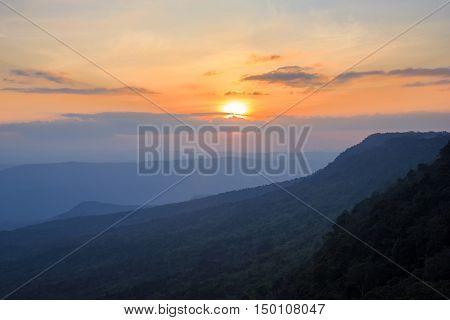 Phu Kradueng National Park at Sunrise in Loei Province of thailand