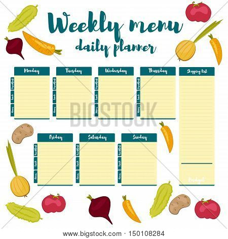 Blue Color Fresh Paper Note Week Healthy Eating Hand Drawn Breakfast Lunch Dinner Weekly