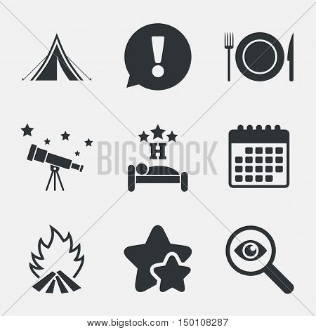 Food, sleep, camping tent and fire icons. Knife, fork and dish. Hotel or bed and breakfast. Road signs. Attention, investigate and stars icons. Telescope and calendar signs. Vector