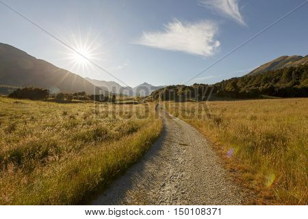 Paradise is just 20 km northwest of Glenorchy. It lies beside the Dart River offering scenic views of the Humboldt Range and Forbes Mountains with Mt Earnslaw. poster
