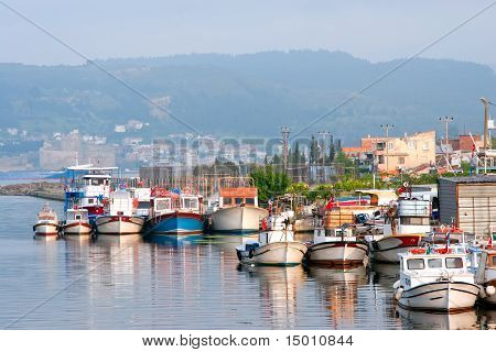 City Harbor With Boats In Chanakkale, Turkey