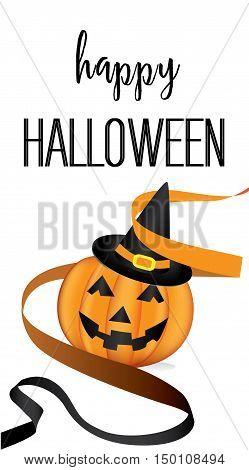 Halloween pumpkin with black ribbon.Halloween style background design template vector.