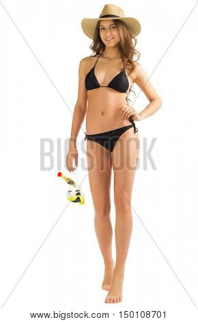 Young girl in bikini isolated on white