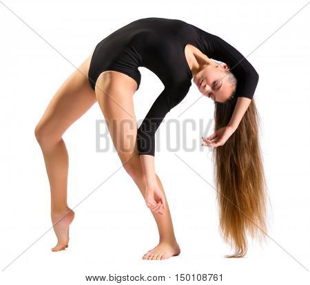 Young girl doing gymnastic exercises isolated
