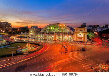 Bangkok city railway station at sunset time