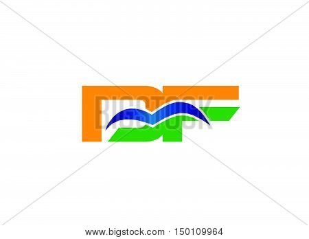 DF company linked letter logo design vector template