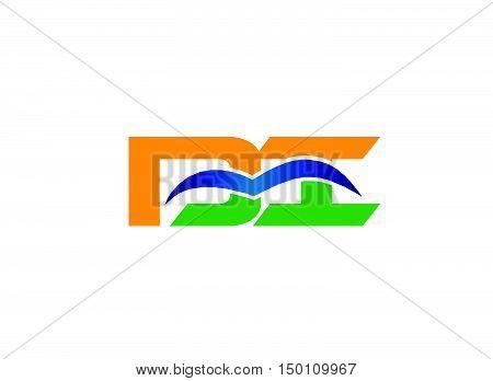 Di company linked letter logo design vector template