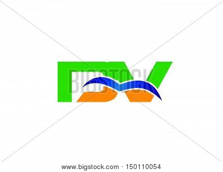 DV company linked letter logo design vector template