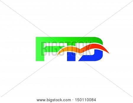 Letter F and D logo design vector template