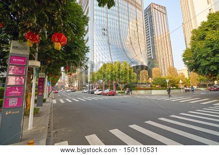 SHENZHEN, CHINA - FEBRUARY 05, 2016: Shenzhen downtown at daytime. Shenzhen is a major city in Guangdong Province, China.