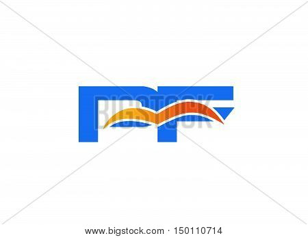 PF Logo. Vector Graphic Branding Letter Element