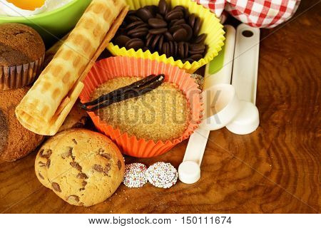 Ingredients for baking on a wooden table