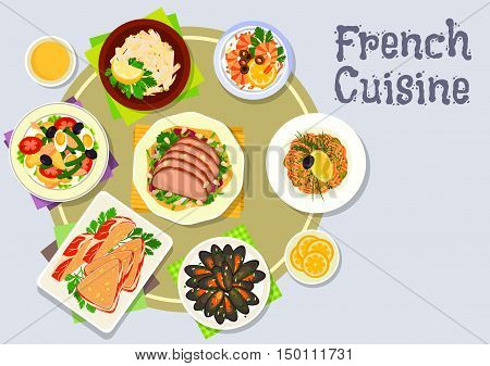 French cuisine restaurant dinner icon with shrimp cocktail salad, tuna vegetable salad with olives, duck salad, mussels, salmon tartare, apple celery salad, liver pate terrine wrapped in bacon
